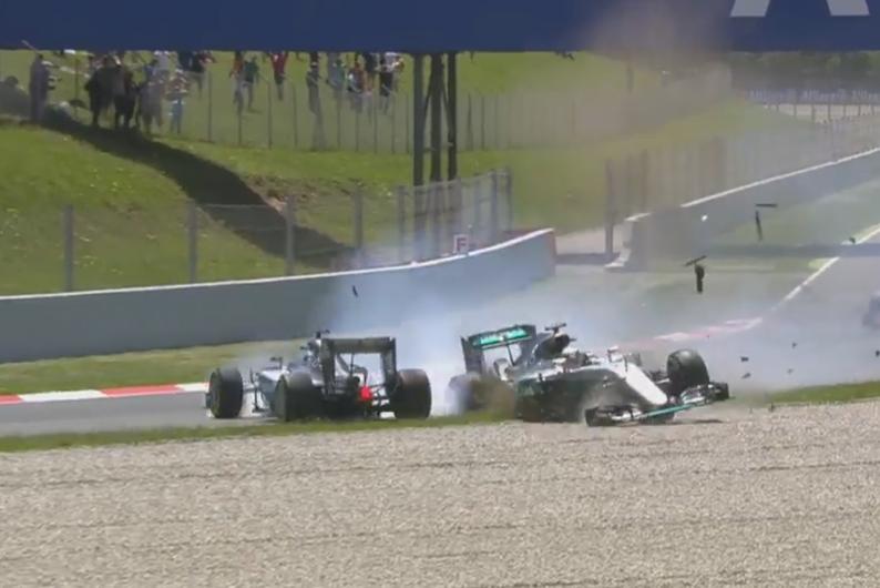 Accrochage Hamilton Rosberg